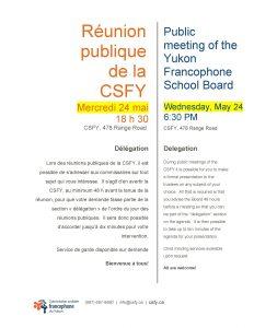 Réunion publique de la CSFY @ Commission scolaire francophone du Yukon | Whitehorse | Yukon Territory | Canada
