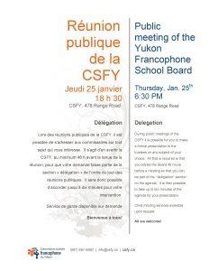 Réunion publique de la CSFY @ Bureaux de la CSFY | Whitehorse | Yukon Territory | Canada